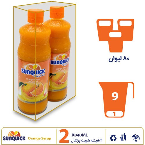 نشان پک ۲ شیشهای سان کوئیک شربت پرتقال
